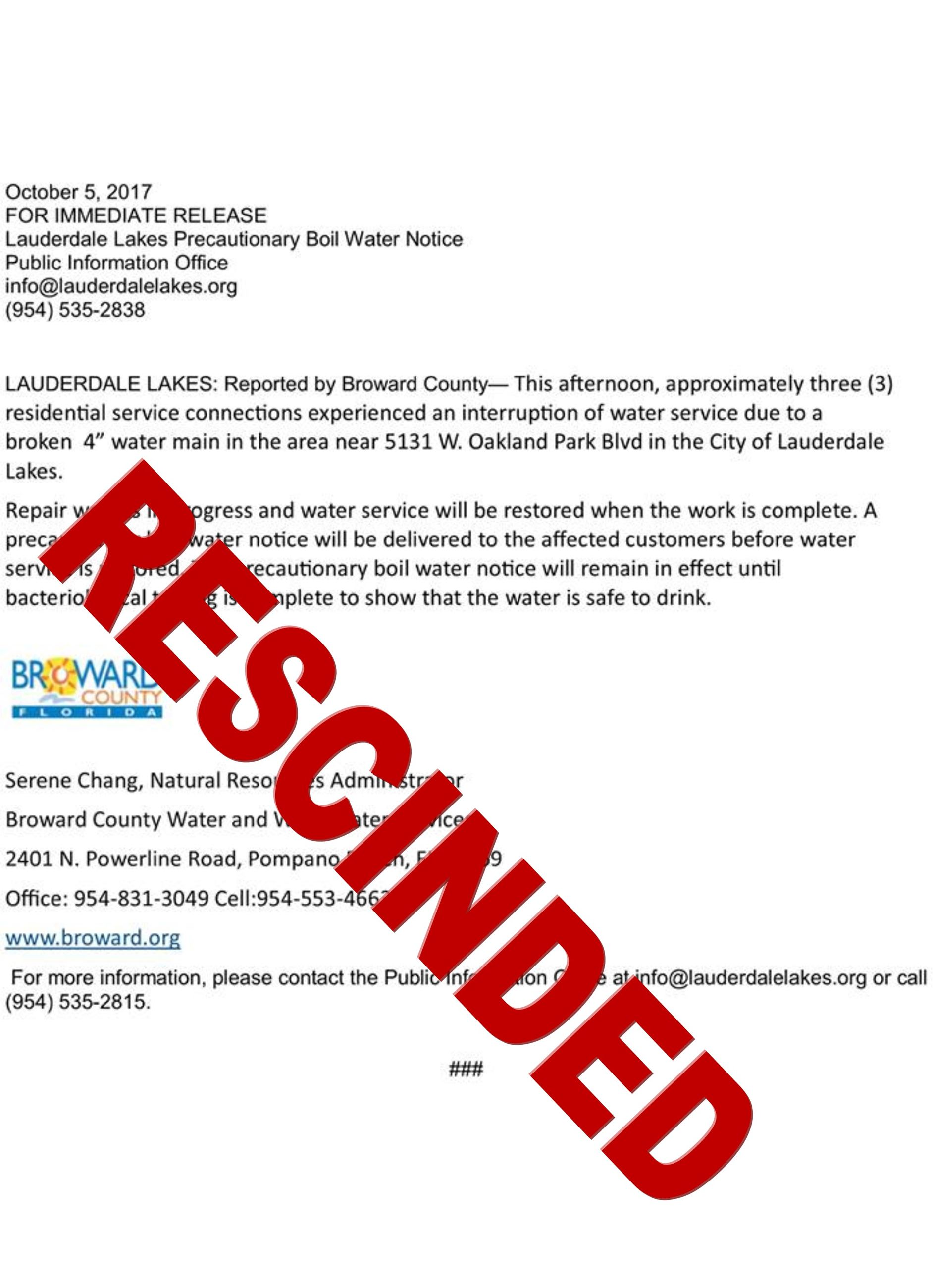 Rescinded press boil water